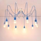 Moderné závesné svietidlo Pavúk so silikónovými päticami v modrej farbe