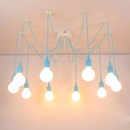 Moderné závesné svietidlo Pavúk so silikónovými päticami v slabo modrej farbe
