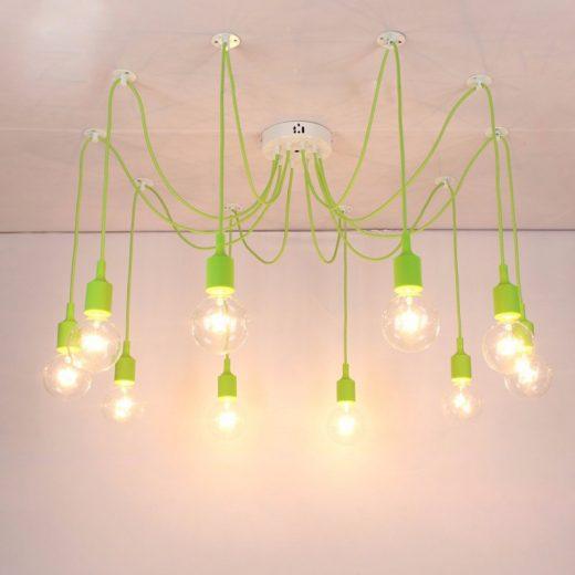 Moderné závesné svietidlo Pavúk so silikónovými päticami v zelenej farbe