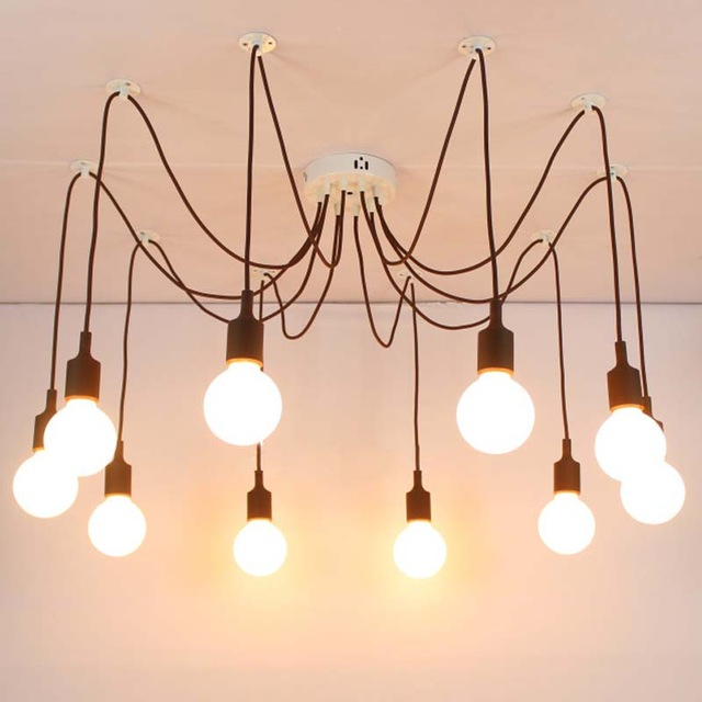 Moderné závesné svietidlo Pavúk so silikónovými päticami v hnedej farbe