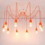 Moderné závesné svietidlo Pavúk so silikónovými päticami v pomarančovej farbe