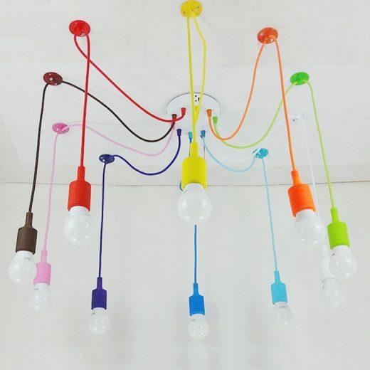 Moderné závesné svietidlo Pavúk so silikónovými päticami vo farbách