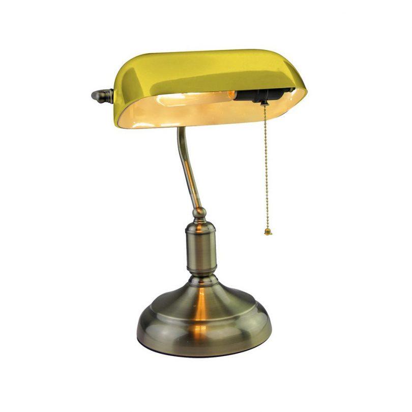 Historické stolové svietidlo Banker je stolová lampa vyrobená z kvalitného kovového materiálu. Stolové svietidlo je vhodné ako lampa k stolíku, televízoru (3)