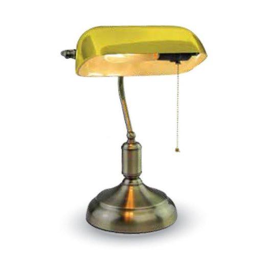 Historické stolové svietidlo Banker, žlté tienidlo