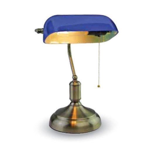 Historické stolové svietidlo Banker, modré tienidlo