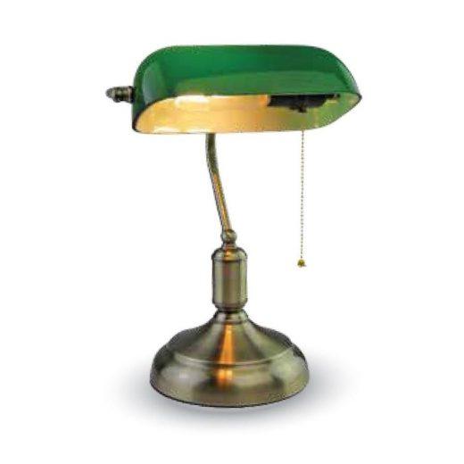 Historické stolové svietidlo Banker, zelené tienidlo