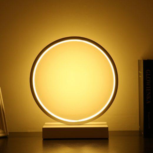 Moderná LED stolová lampa KRUH v zlatej farbe