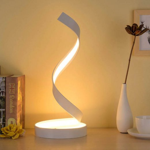 Moderná LED stolová lampa SLIMÁK v bielej farbe