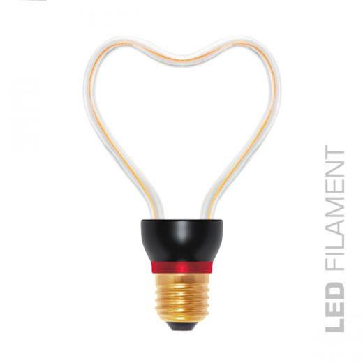 Umelecká LED ART žiarovka - HEART, E27, 8W, 2200K, 300lm predstavuje klasický tvar žiarovky, avšak interpretovaný v novom umeleckom štýle