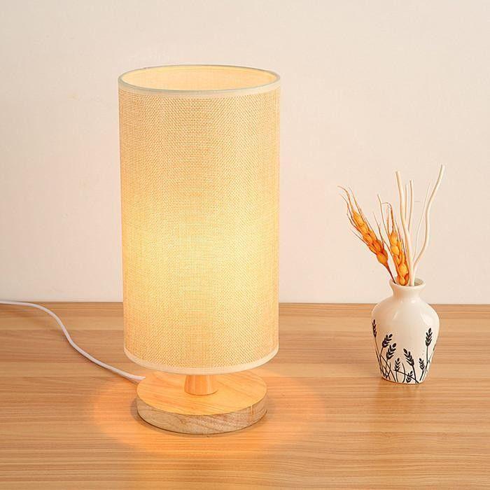 Krásna stolová lampa s tienidlom vyrobená z dreva so stmievačom (3)