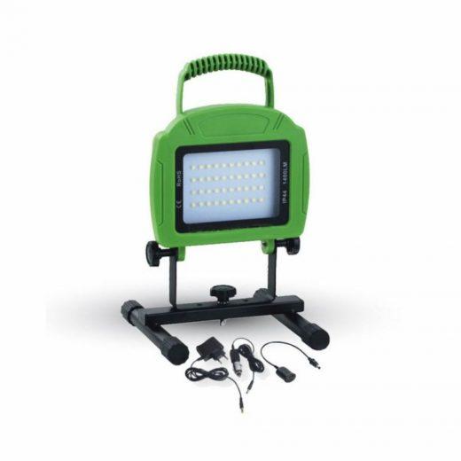 20W Dobíjateľný LED reflektor, 1600lm, Studená biela, zelená farba