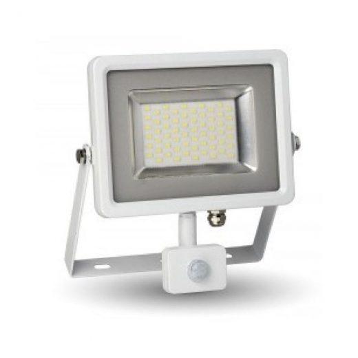 30W LED SMD Reflektor so senzorom pohybu, Studená biela, 2400lm, biely