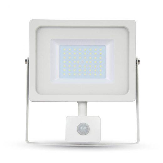 LED reflektor so senzorom - 50W Premium, 4250lm, Teplá biela, biely