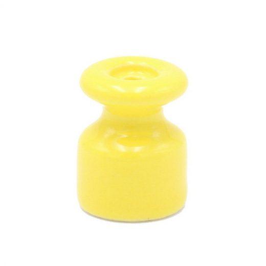 Porcelánový izolátor na vedenie kábla po stene, priemer 20mm, 10ks, žltá farba