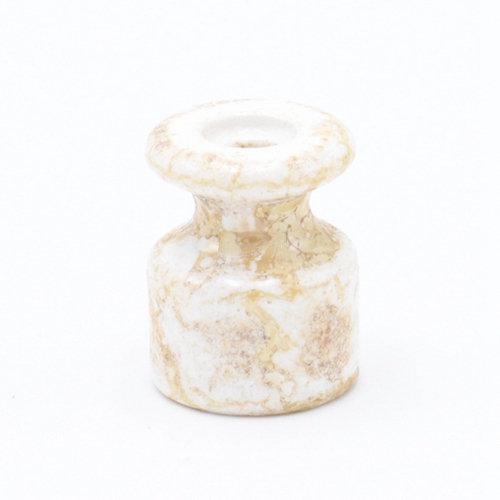 Porcelánový izolátor na vedenie kábla po stene, priemer 20mm, 10ks, mramorová farba