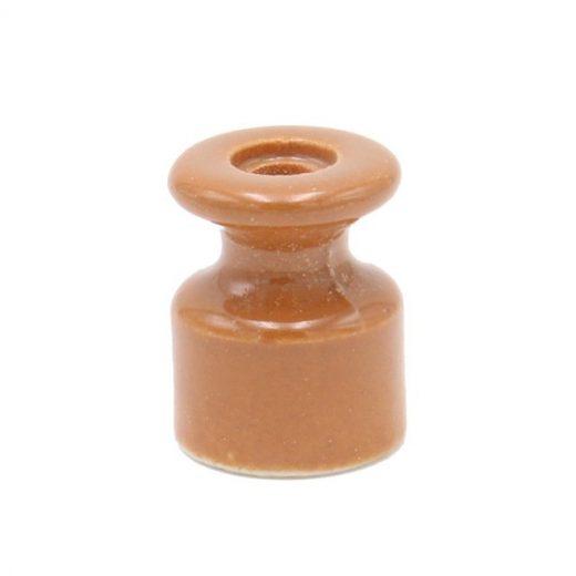 Porcelánový izolátor na vedenie kábla po stene, priemer 20mm, 10ks, svetlo hnedá farba