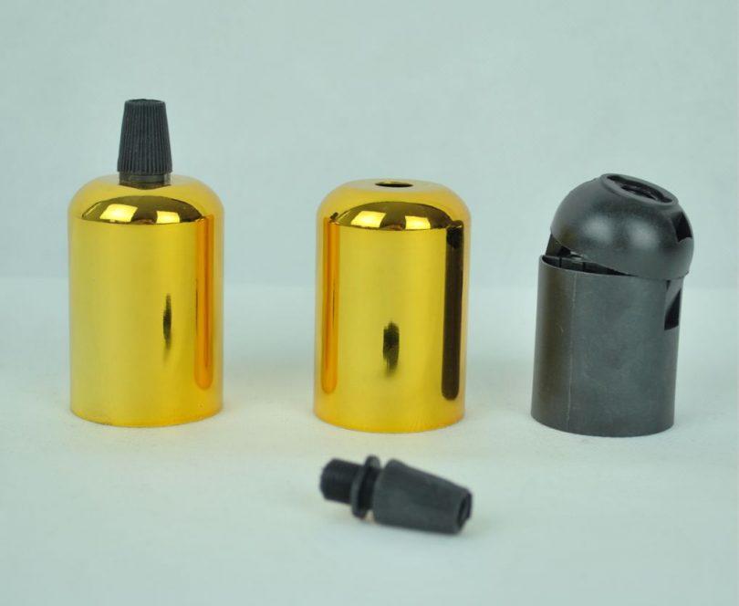 objímky pre lampy, výroba vlastného svietidlo, elektro komponent, držiak na žiarovku, lampa, svietidlo na mieru, zlatá farba (2)