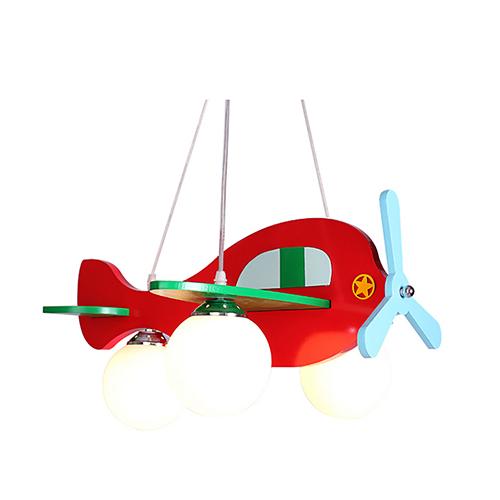 Detské závesné svietidlo z dreveného materiálu v červenej farbe (2)