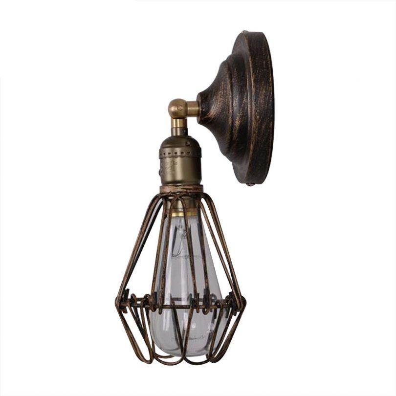 Historické nástenné svietidlo s retro klietkou (2)