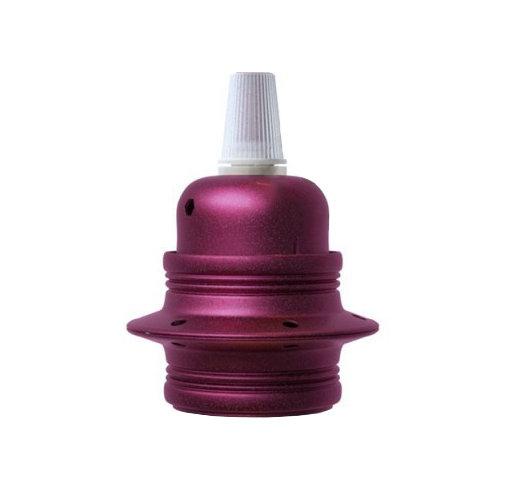 Kovová objímka E27 v metalickej fialovej farbe
