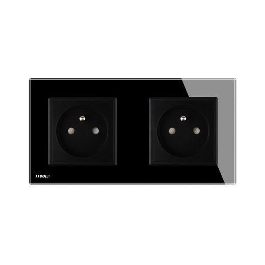 Luxusná dvojzásuvka s ochranným kolíkom v čiernej farbe (4)