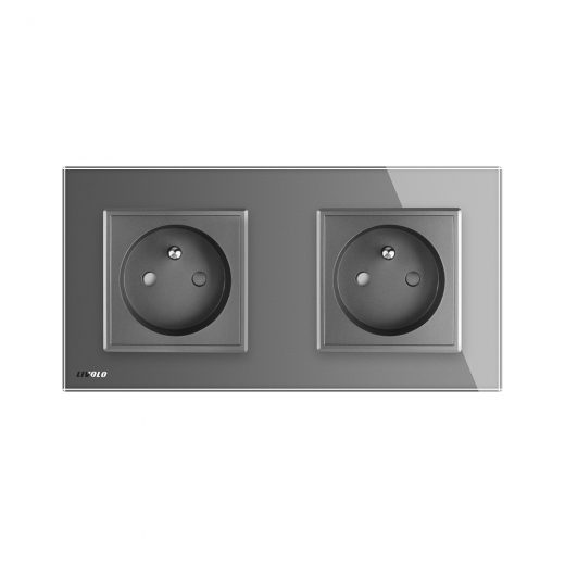 Luxusná dvojzásuvka s ochranným kolíkom v šedej farbe (2)