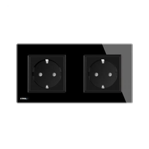 Luxusná dvojzásuvka s ochranou typu SCHUKO v čiernej farbe (1)