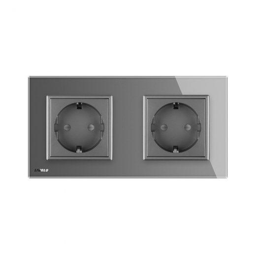 Luxusná dvojzásuvka s ochranou typu SCHUKO v šedej farbe (3)