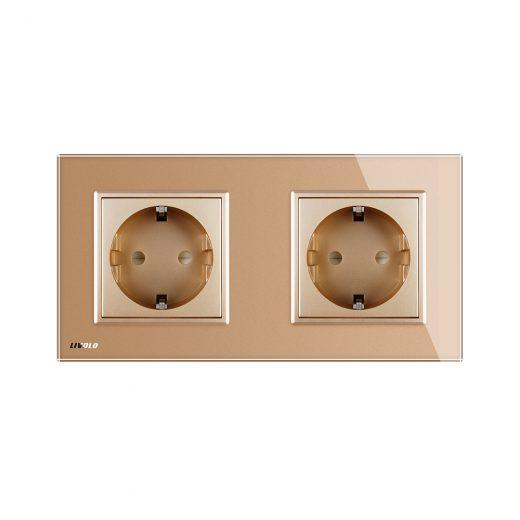 Luxusná dvojzásuvka s ochranou typu SCHUKO v zlatej farbe (2)