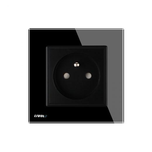 Luxusná zásuvka s ochranným kolíkom v čiernej farbe (1)