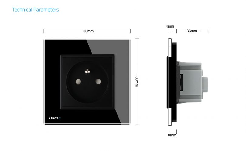 Luxusná zásuvka s ochranným kolíkom v čiernej farbe (3)