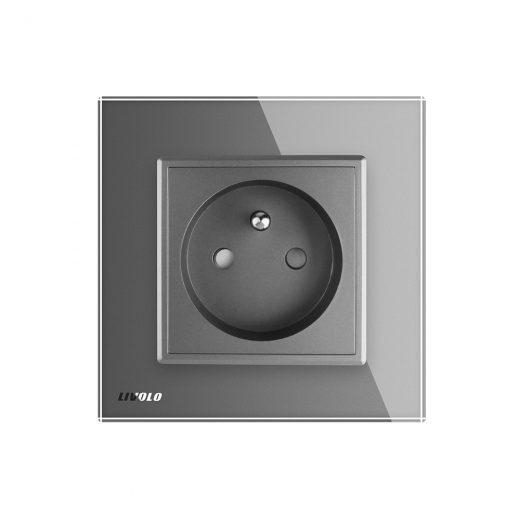 Luxusná zásuvka s ochranným kolíkom v šedej farbe (2)
