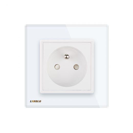 Luxusná zásuvka s ochranným kolíkom v bielej farbe (2)