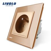 Luxusná zásuvka s ochranným kolíkom v zlatej farbe (4)