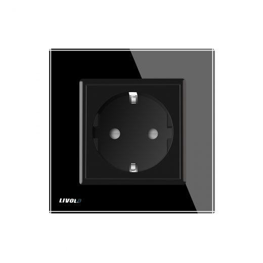 Luxusná zásuvka s ochranou typu SCHUKO v čiernej farbe (2)