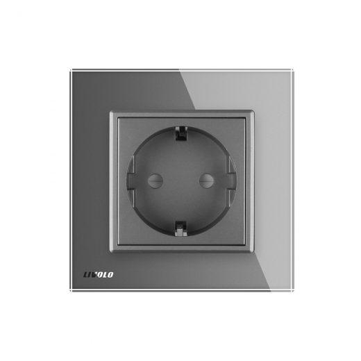 Luxusná zásuvka s ochranou typu SCHUKO v šedej farbe (4)