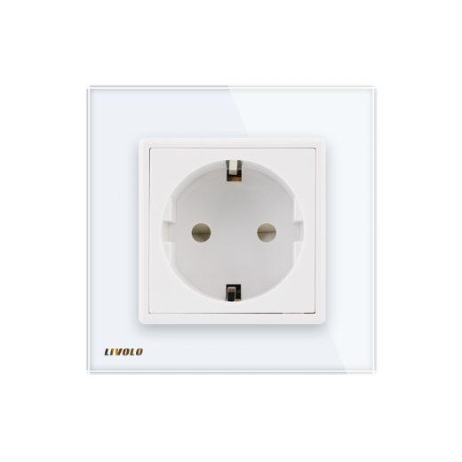 Luxusná zásuvka s ochranou typu SCHUKO v bielej farbe (2)