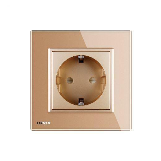 Luxusná zásuvka s ochranou typu SCHUKO v zlatej farbe (1)