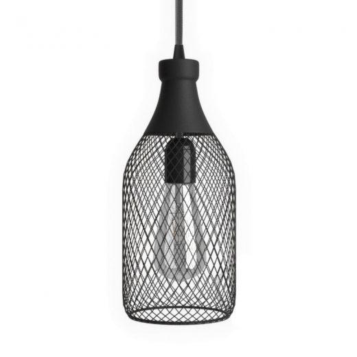 Moderná kovová veľká klietka v tvare fľaše, čierna farba (2)