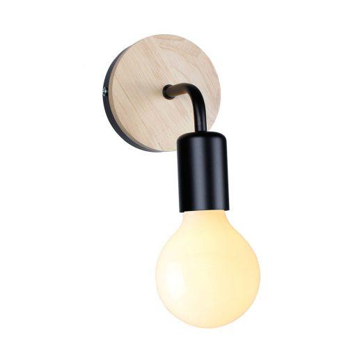 Moderné nástenné svietidlo s dreveným dekorom v čiernej farbe