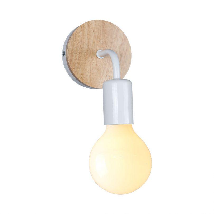 Moderné nástenné svietidlo s dreveným dekorom v bielej farbe na žiarovku typu E27 je jednoduché svietidlo určené na stenu (1)