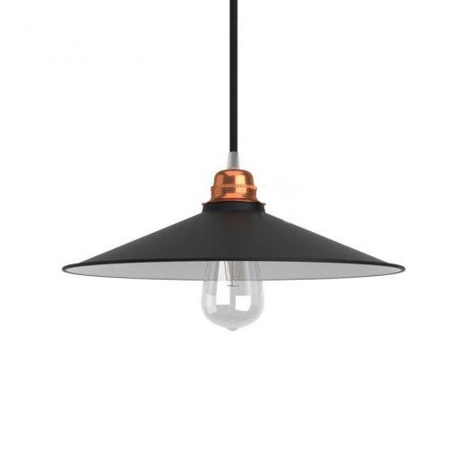 Retro kovové tienidlo v lesklej čiernej farbe, priemer 30cm (3)