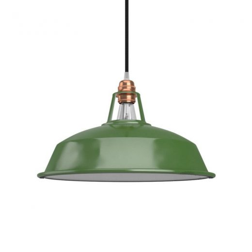 Vintage kovové tienidlo v lesklej zelenej farbe s bielym vnútrom, priemer 30cm
