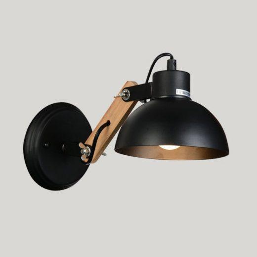 Vintage nastaviteľné nástenné svietidlo s drevom v čiernej farbe (2)