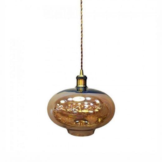 Závesné mohutné svietidlo BERN so zlatým skleneným tienidlom