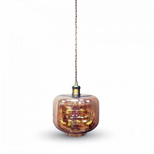 Závesné mohutné svietidlo ZYLINDER so zlatým skleneným tienidlom