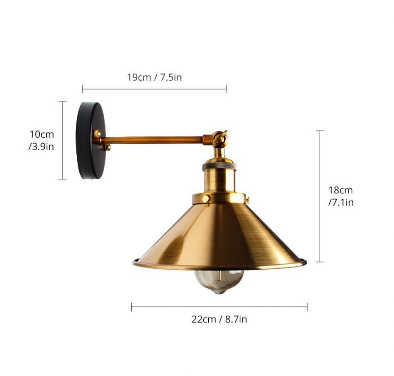 Historické nástenné svietidlo so zlatým hlbokým tienidlom (5)