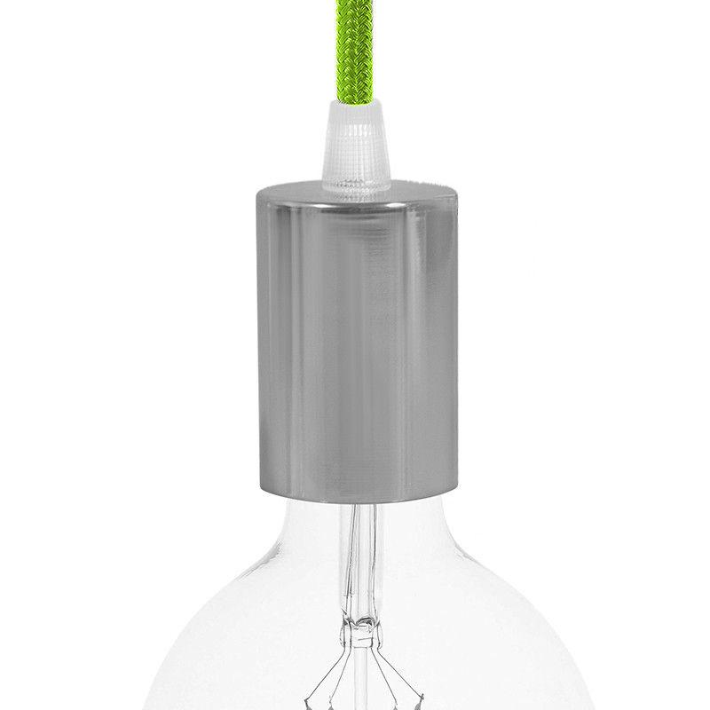 Chrómové závesné svietidlo so zeleným textilným káblom (1)