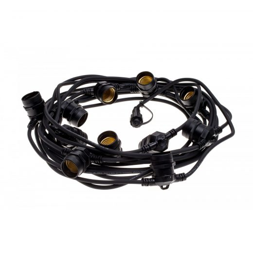 Exteriérová svetelná šnúra v čiernej farbe, Schuko zástrčka, Dĺžka 12,5 metra (2)