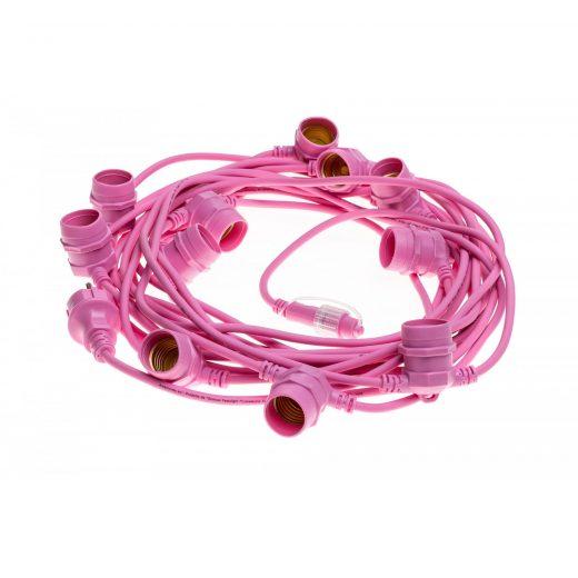 Exteriérová svetelná šnúra v ružovej farbe, Schuko zástrčka, Dĺžka 12,5 metra (1)